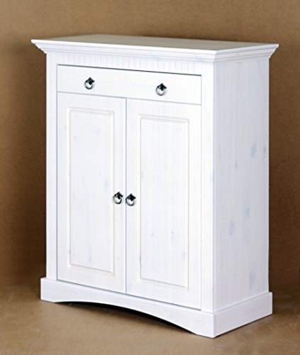 2Trg. Commode en pin Blanc laqué, Armoire, Commode