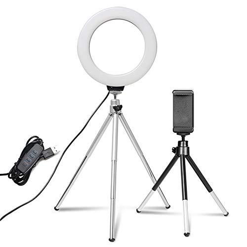 Mini anillo de luz para selfie de 6 pulgadas, lámpara LED de escritorio, luz de vídeo con clip de trípode para YouTuber Tik Tok Foto estudio fotográfico