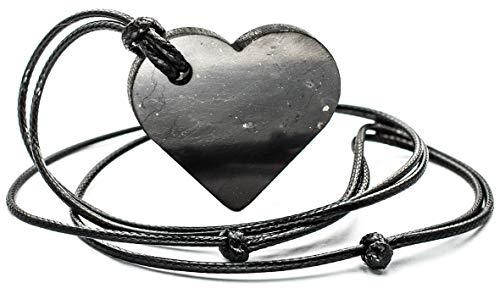 Shungite Pendant Heart EMF Protection Energy Stone Chakra Balance