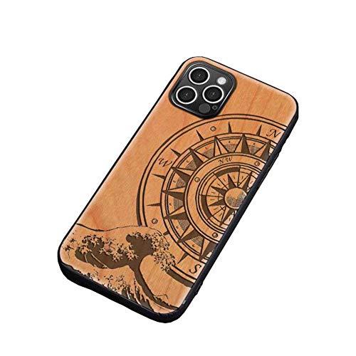 KAINUO Funda iPhone 12 Pro Funda De Madera,Ultra Slim Silky Touch Feel Carcasa Grado Militar Anti-CaíDa ProteccióN,para iPhone 12 Pro(iPhone 12 Pro, Steering Wheel)