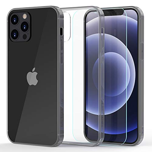 b1b byoneby iPhone 11 Pro Max Case[Tempered Glass Screen Protector][Anti-Scratch][Anti-Yellow], 6.5-inch,Ultra Slim Crystal Clear Hard PC Back Flexible Rubber Shockproof Bumper Air Cushion Cover