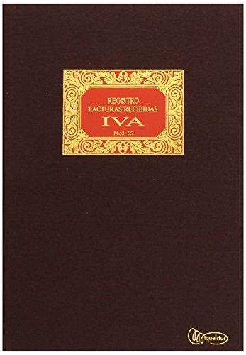Miquelrius - Libro de Contabilidad, Tamaño Folio Natural, Facturas Recibidas IVA #65, 100 hojas (Foliado), Cubierta en tela y lomo engomado