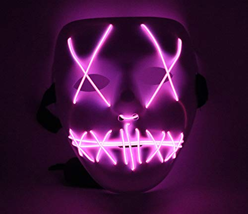 Upolymall LED Grimace Horror Glowing Mask Party Mask, Cold Light Ghost Walk Holiday Party Mask, Halloween Role Dress Up Cool Mask (Peach Powder)