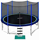 Zupapa 15 14 12 10 FT Kids Trampoline with Enclosure net, Ladder Safety Pad Jumping Mat Spring Pull T-Hook, Include All Accessories, Great Outdoor Backyard (10FT)