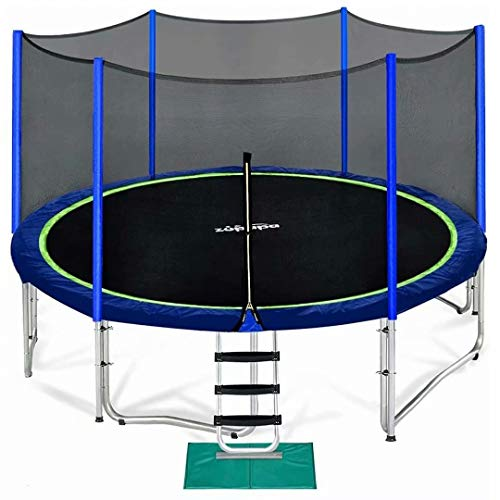 Zupapa 15 14 12 14 FT Kids Trampoline with Enclosure net, Ladder Safety Pad Jumping Mat Spring Pull T-Hook, Include All Accessories, Great Outdoor Backyard Trampoline