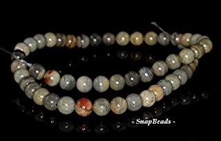"""8MM Silver Leaf Jasper Gemstone Round 8MM Loose Beads 7.5"""", Beading, Jewelry Making, DIY Crafting, Arts & Sewing by Perfect Beads Store"""