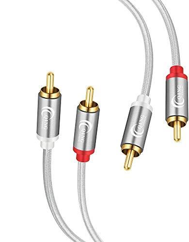 Qing CAOQING 2 Cinch zu 2 Cinch RCA Audio Kabel 2M, Stecker- bis -Stecker Stereo Kabel, für Heimkino,HDTV, Hi-Fi Anlagen,BluRay Player,Spielkonsole