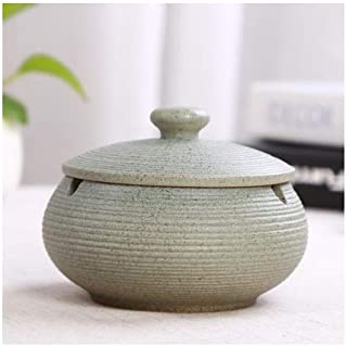 Ceramic Portable Ashtray Round Smoking Ash Tray Box Anti-Scalding Cigar-Ashtray Holder with Lid Smoking Accessories Eco-Fr...