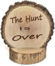 The Hunt is Over Wedding Cake topper Laser Engraved onto a Wood slice Fall/Winter/Summer forest woodland Weddings