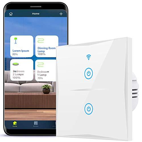 Smart Lichtschalter, 2-Weg Wlan Schalter kompatibel mit Alexa,Google Home und IFTTT, 2.4GHz,Glas Touchscreen mit App Smart Life,kein Hub erforderlich (Weiß, N Wire Needed) (2-Weg)