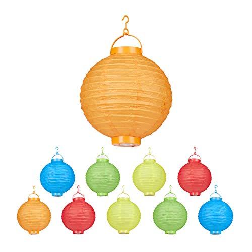 Relaxdays LED-lampions, kleurrijk, 10 stuks, op batterijen, binnen en buiten, om op te hangen, papieren lantaarn Ø 20 cm, gekleurd