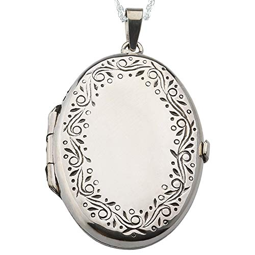 Sicuore Collar Colgante Guardapelo Oval Grabado para Mujer Hombre - Plata de Ley 925 Incluye Cadena 45cm Y Estuche para Regalo