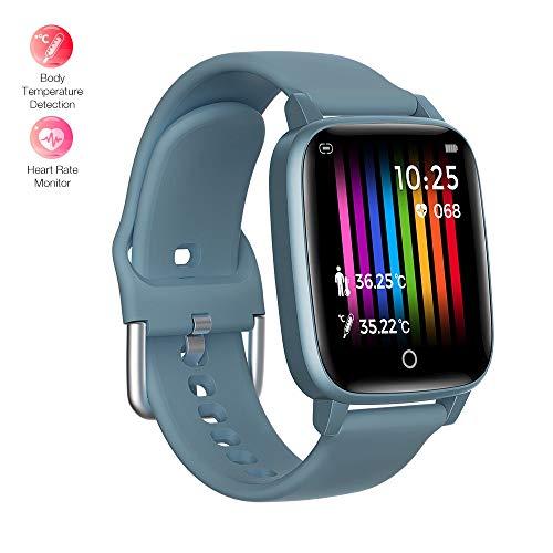 BingoFit Slimme Horloge met Body Temperatuur Meting, Fitness Trackers HR Smartwatch voor Mannen Vrouwen, Waterdichte Gezondheid Activiteit Trackers Sport Polshorloge met Slaapmonitor Stappenteller Stap Calorie Counter, Blauw-Smart Horloge