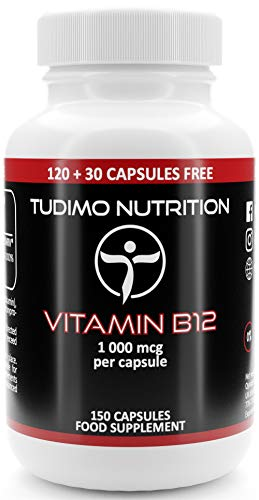 Vitamina B12 Vegana 1000 mcg - 150 pz (Scorta 5 Mesi) di Capsule Vegane a Disgregazione Rapida con 1000mcg Cyanocobalamin Polvere Qualità Premium, di TUDIMO