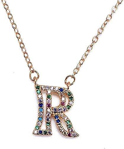 Yiffshunl Collar R - Cadena Mujer Letra Inicial Alfabeto Nombre Collar Colgante para Mujer Charms Joyería Colgante Collar Regalo para Mujeres Hombres Niñas Niños
