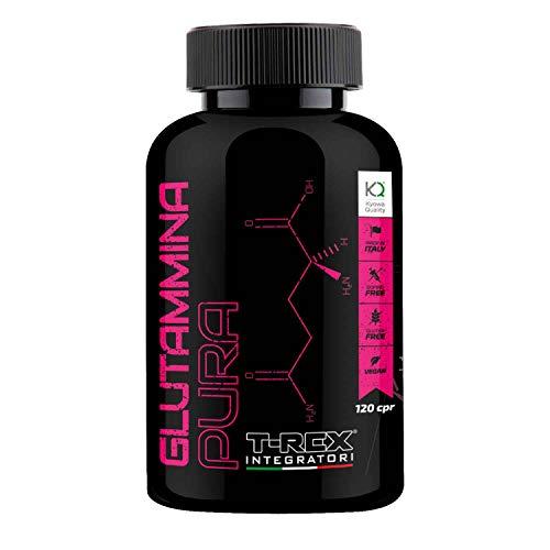 L - Glutammina Pura Kyowa® 120 compresse | Stimola aumento GH ormone della crescita | Diminuisce fatica post allenamento | Rafforza il sistema immunitario | T-REX INTEGRATORI
