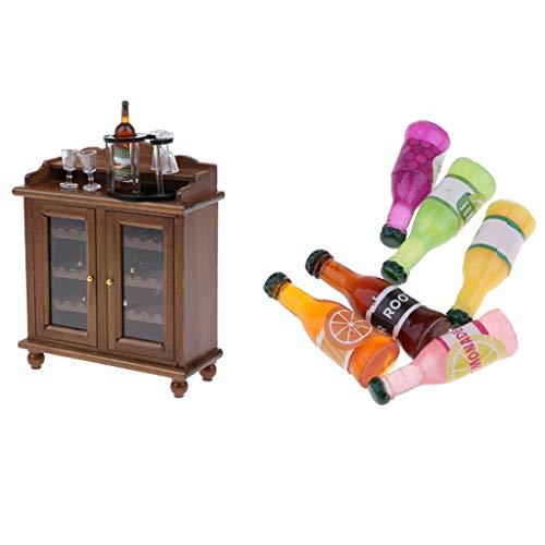 Amagogo Mueble de Casa de Muñecas 1/12 Gabinete de Vino con Botella de Champán, Botellero,