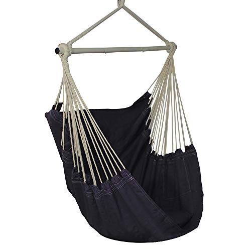 PIRNY Hammock Chair Hanging Swing with Side Pocket-Max Capacity Up to 400 LBS,Comfortable and Sturdy(Grey)