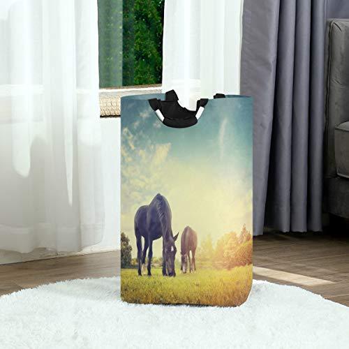 DEZIRO Paard Eden Opvouwbare Doek Tas Wasserij Hamper Waszak voor Kwekerij Opslag, Baby Hamper
