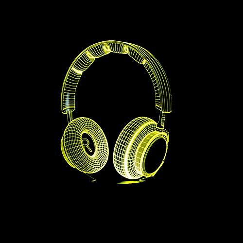 Anime 3D Night Light 3D DJ Headphones Night Light Studio Music Monitor Headphones Colorful Hi-Fi Music Headphones LED Desk Lamps Best Gifts for Boys Bedroom Decoration Holiday gifts that Children Love