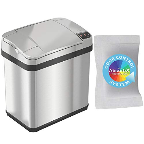iTouchless 2.5 Gallon Sensor Garbage Can with AbsorbX Odor Filter and Fragrance, 9.5 Liter Touchless Automatic Stainless Steel Trash Bin, Perfect for Bathroom and Office