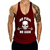 GymLeader Men's Gym Muscle Bodybuilding Stringer Tank Tops Y Back Workout T-Shirt (Wine Red2, Small)
