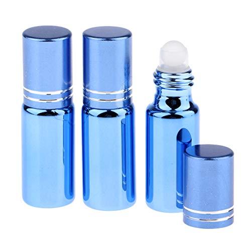 Amuzocity 3pcs Bouteilles Vide en Verre UV Résistant Rouleau à Billes pour Huiles Essentielles Huiles de Parfum et Liquides - Bleu