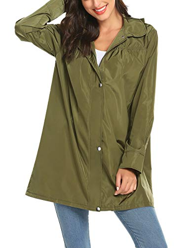 Rain Jacket Women Windbreaker Climbing Raincoats Waterproof Lightweight Outdoor Hooded Trench Coats Breathable Rain Coat Active Hooded Rain Trench Jacket Anorak Army Green