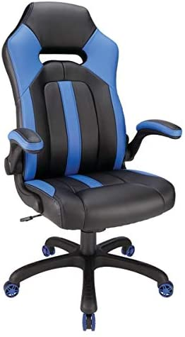 Realspace High-Back Gaming Denver Mall Blue depot Black Chair