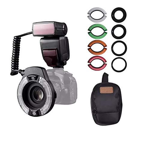 QYRL Anillo Macro Flash Speedlite con Pantalla LCD Adaptador / 4 Temperatura De Color De La Película/para Canon 7D 5DII 6D T6i T5 80D