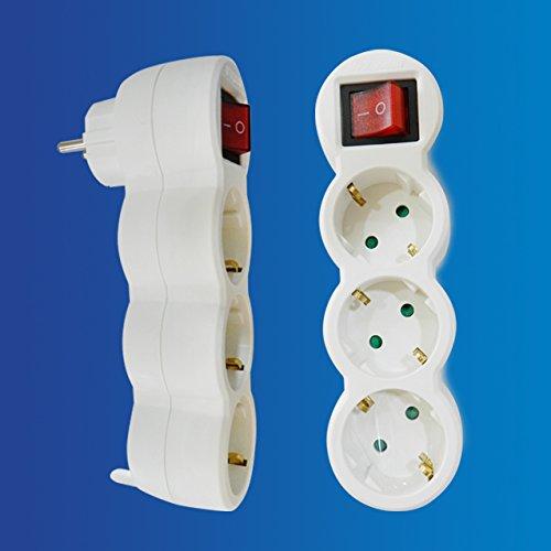 Adaptador Plano con Interruptor y Tres enchufes schuko Color Blanco