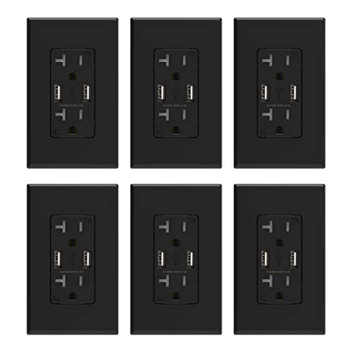 ELEGRP USB Charger Wall Outlet, Dual High Speed 4.0 Amp USB Ports with Smart Chip, 20 Amp Duplex Tamper Resistant Receptacle Plug NEMA 5-20R, Wall Plate Included, UL Listed (6 Pack, Glossy Black)