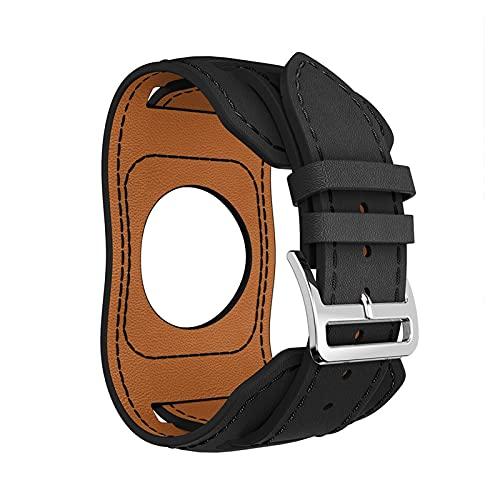 ZRNG Echtes Lederarmband für Fitbit Versa 2 Versa Lite Lederarmband passend für Fitbit Versa2 Ersatz-Handgelenk (Armbandfarbe: Schwarz, Bandbreite: für Fitbit Versa Lite)
