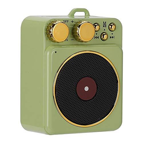 Bewinner DC 3.7V Retro Bluetooth 5.0 Altavoz,Altavoz Bluetooth Audio Inteligente Soporte Llamadas Manos Libres/Radio FM/USB/Tarjeta TF,Clásico Retro Mini Bocina Portátil Multifuncional,Regalo(Verde)
