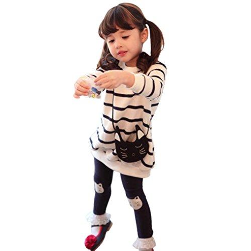 JERFER 2pcs Gestreifte Comic-Katze Outfit Set Herbst Frühling Bekleidungsset Nette Baby Kind Kleidung Langarm Shirt Tops Bluse + Hose Leggings für 4-8 Jähriges Mädchen (Weiß, 4T)