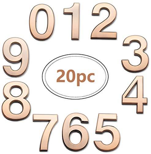 20 Piece 2.75inch Self-Adhesive Bronze Mailbox Numbers(20, Bronze)