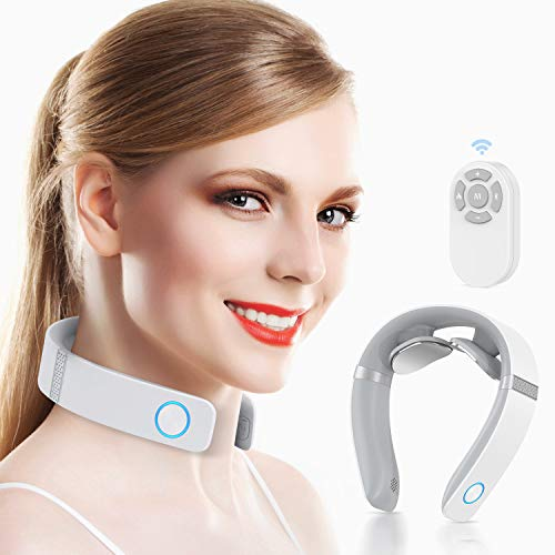 HOMIEE Smart Neck Massager with Heat, 6 Modes, 16 Levels of Intensity to Relax Neck, Remote Control, Voice Prompts, USB...