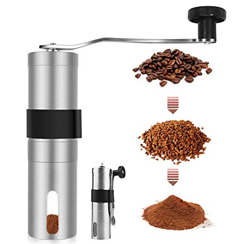 YEHOBU Manual Coffee Grinder,Hand Coffee Bean Grinder with Adjustable Setting,Brushed Stainless Steel Hand Crank Conical Burr Mill for Precision Brewing