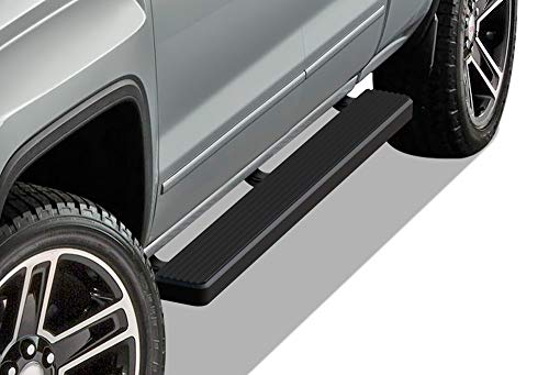 APS iBoard Running Boards 5 inches Matte Black Custom Fit 2007-2018 Chevy Silverado Sierra Double Extended Cab & 2019 2500 3500 HD (Exclude 07 Classic) (Nerf Bars Side Steps Side Bars)