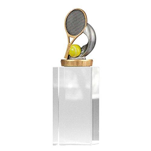 pokalspezialist Pokal, Trophäe Tennis mit Glassockel 13cm hoch Größe S