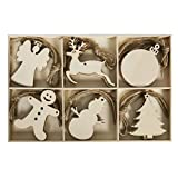 30pcs Wooden Christmas Unfinished Wood Cutouts Embellishments Tree Hanging Ornament - Angel Deer Ball Doll Snowman Tree Xmas Decorations Kids DIY Crafts