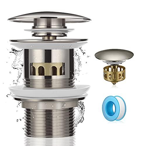 Aitsite Universal Ablaufgarnitur mit Pop Up Ventil & Überlauf für Waschtisch/Waschbecken Gebürstetes Plattiertes Silber