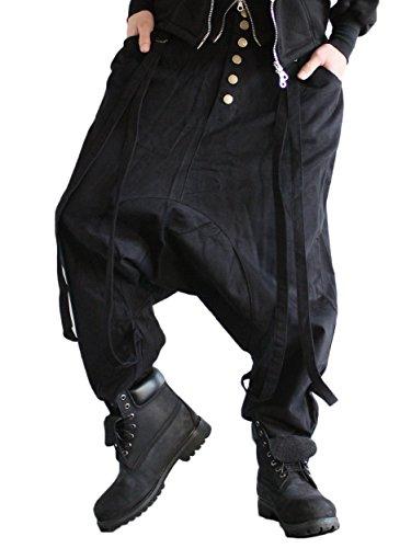 [エヴァーソウル] EVERSOUL サスペンダー 付き ワイド サルエル パンツ FREE ブラック