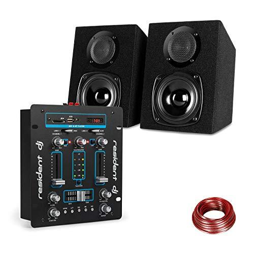 Resident DJ DJ-25 - DJ-Mixer, DJ-Mischpult, Bluetooth, auna ST-2000, Lautsprecher Set, Boxenpaar, Passive 2-Wege Lautsprecher, LCD-Display, Echo-Regler, 10 m Lautsprecherkabel, schwarz-blau