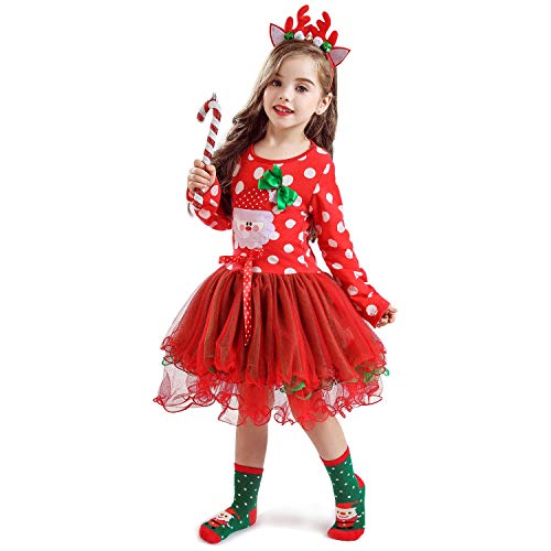 NNJXD Christmas Toddler Baby Girls Outfits Polka Dot Xmas Tutu Dress Santa Claus Pattern Red Dresses Size 2-3 Years Red/White