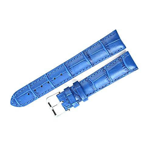 Correa de la correa de reloj de los accesorios de cuero correa de reloj de la correa, Azul, 16mm