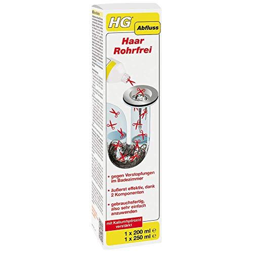 HG Haar Rohrfrei 450ml (1x200ml + 1x250ml) - schnell den Bad- und Duschabfluss reinigen