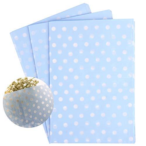 30hojas Papel de Seda para Envolver Regalos Flores Papel de Regalo Azul con Apuntos 50x70cm para Decoración Manualidades DIY San Valentín Bodas Fiestas Cumpleaños Navidad