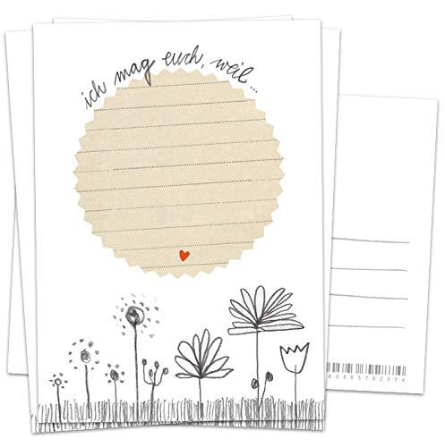 Hochzeitsspiel für Gäste, 52 Postkarten - Ich mag euch, weil - Glückwünsche Spiel zur Hochzeit für ein gerührtes Brautpaar, Recyclingpapier Partykarten & Postkartengruß, Handlettering Weiß
