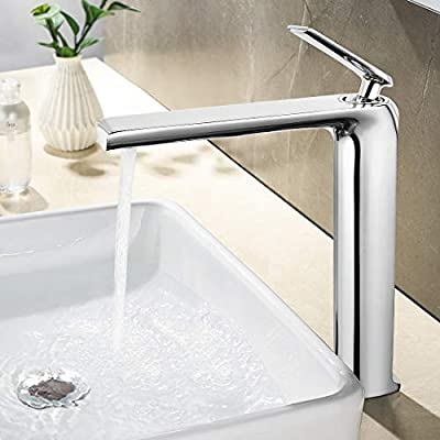 JOMOLA Bathroom Vessel Sink Tall Faucet Single Handle One Hole Lavatory Basin Vanity Hot Cold Mixer Tap Modern Chrome (Without Drainer)
